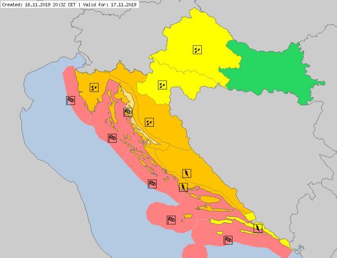 Ostrzeżenia meteorologiczne na niedzielę dla Chorwacji (meteoalarm.eu)