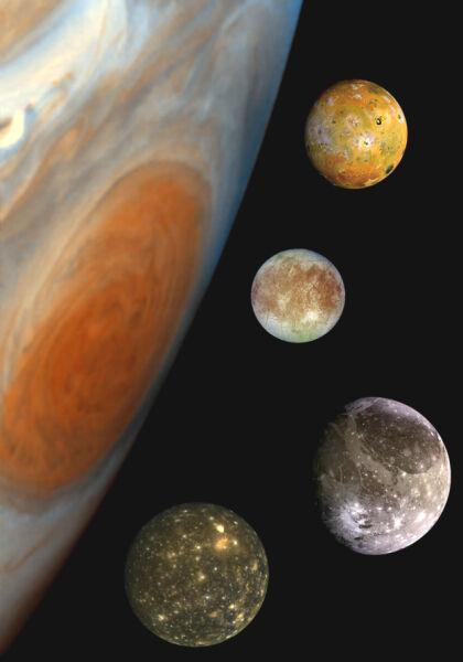 Jowisz i jego cztery największe księżyce