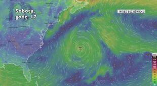 Prognozowana trasa burzy subtropikalnej (Ventusky)
